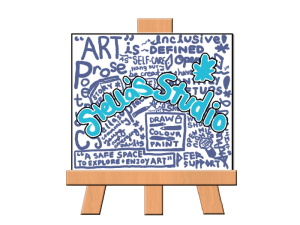 """An illustration of a canvas on a wooden easel, covered in purple words with larger blue bubble words overtop that read """"Stella's Studio"""""""