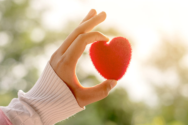Picture of one hand holding heart shape object