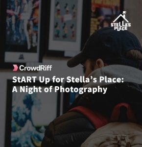 """A graphic with white text that reads """"CrowdRiff: Start Up for Stella's Place: A night of photography"""""""
