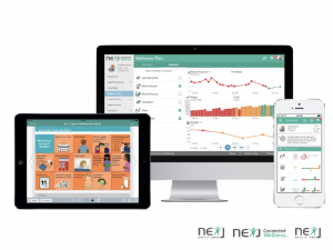 A mockup of an iPad, computer screen and iPhone with the NexJ platform displayed on all 3