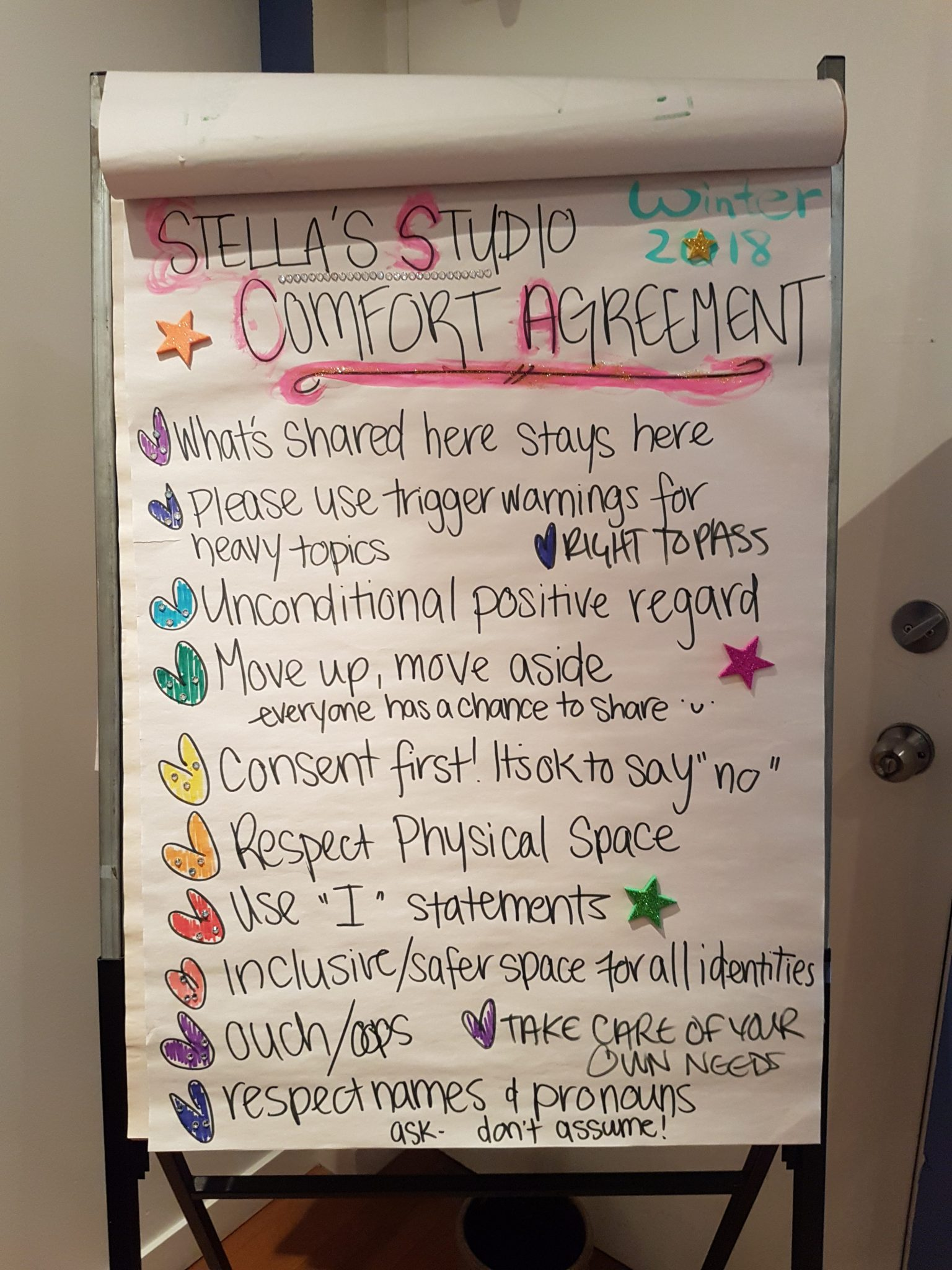 """A big sheet of paper with hand drawn marker messages on it with """"Stella's Studio Comfort Agreement"""" at the top."""