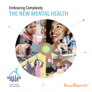 """A wheel with cropped triangle photos of people in the middle. At the top left hand corner the title reads """"Embracing Complexity"""" """"The new mental health"""". There's a subheading in the bottom right corner """"Annual Report 2017"""" in the bottom left corner is the purple and blue Stella's Place logo."""