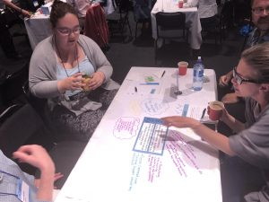 3 people sitting together at a table in discussion, looking at the table in front of them which has a big sheet of paper and writing on it.