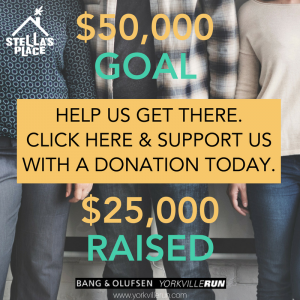 """A graphic that reads """"$50,00 GOAL"""" with a yellow box and text that reads """"HELP US GET THERE. CLICK HERE & SUPPORT US WITH A DONATION TODAY."""" and underneath """"$25,00 RAISED"""" at the bottom is the Yorkville Run logo and at the top is the white Stella's Place logo. The background is 3 people standing from the waist down."""