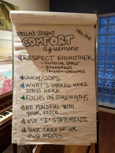 """A big sheet of paper with handwritten text that reads """"Stella's Studio Comfort Agreement"""""""