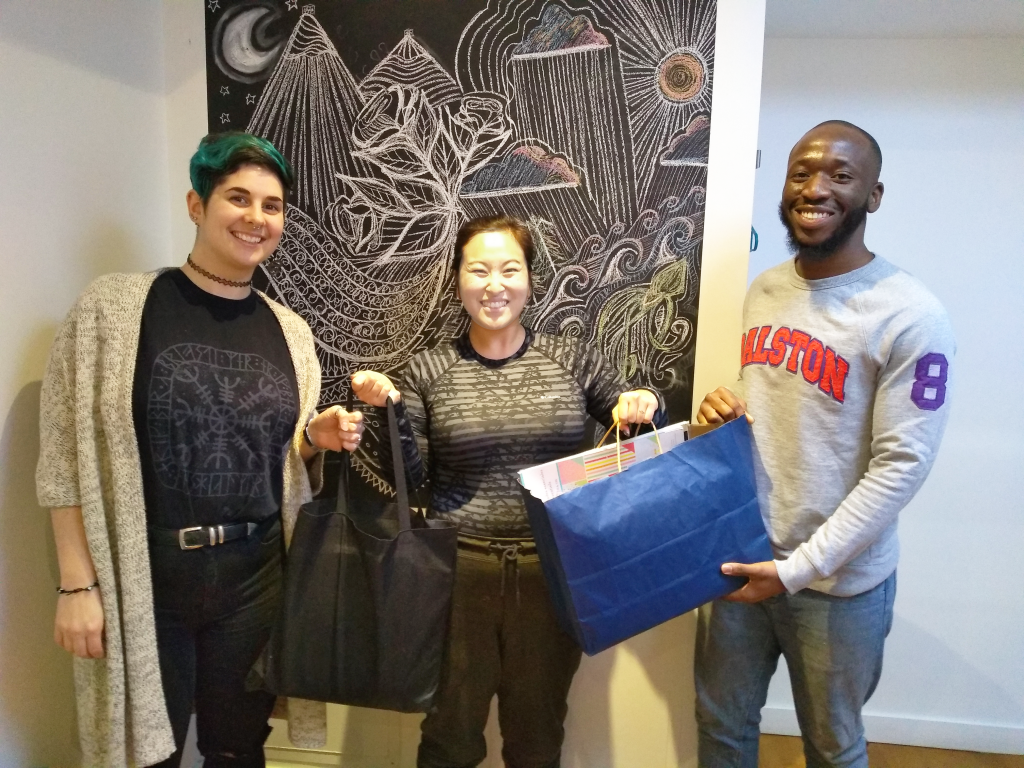 Studio donors Amanda and David Lederle of CreateBeing, shown here offering supplies to facilitators Funmi and Liz. Thanks Amanda and David!