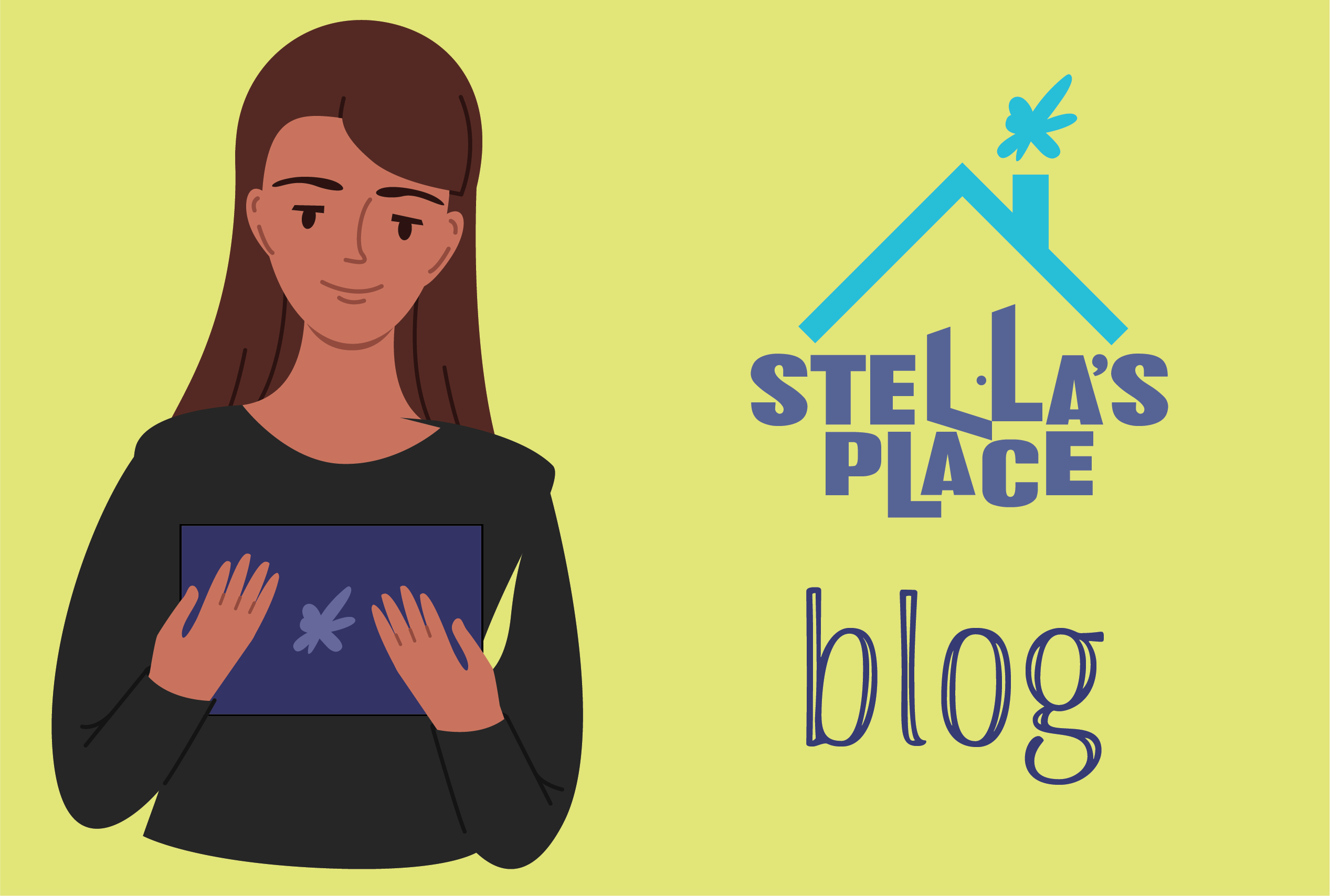 "Illustration of girl with a laptop, next to Stella's Place logo and ""Blog"""