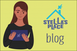 An illustration with lime green background and small text that says 'blog' with the Stella's Place logo above. To the left is an illustration of a person holding an iPad.