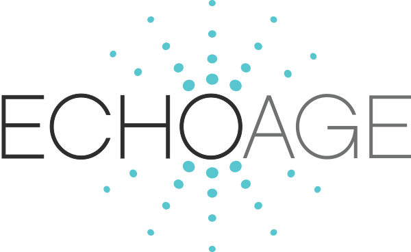"EchoAge logo with blue dots surrounding ""O"""