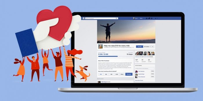 Illustration of orange people holding up Facebook hand holding a heart, pointing towards a laptop screen with a Facebook profile page.