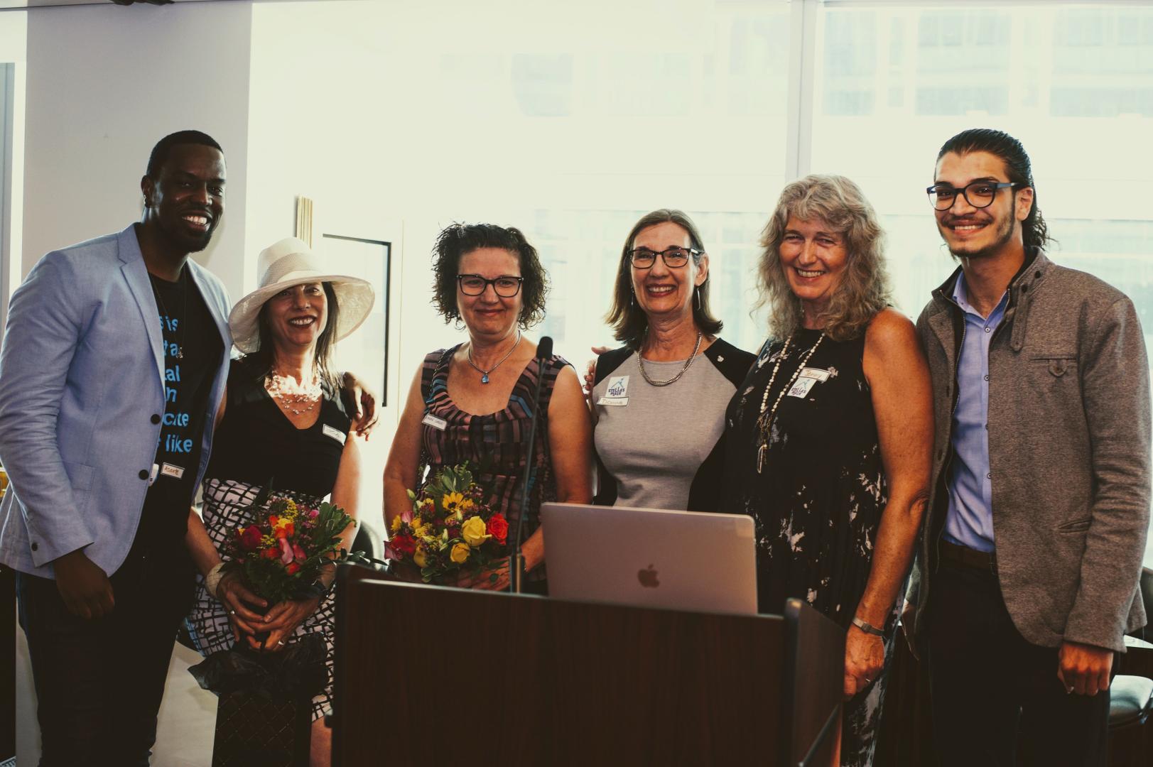 Celebrating Transformational Philanthropists Left to Right: Asante Haughton, Lindy Green, Karen Green, Donna Green, Jenny Carver & Tarek Kadan