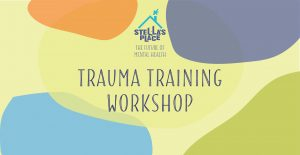 """A graphic with large text in middle """"Trauma Training Workshop"""" with the purple and blue Stella's Place logo above. The background is a lime green with different colour organic shapes around the text."""