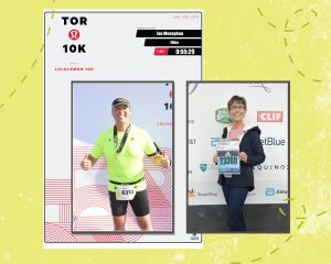 2 photos of 2 different people posing for a photo after a run. The two photos are placed on a lime green textured background.