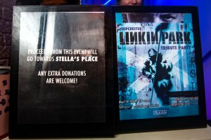 """Two posters for the Linkin Park Tribute Party side by side. The left poster says """"All proceeds from this event will go to Stella's Place, all extra donations welcome!"""""""