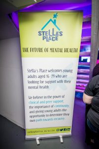 Stella's Place roll up banner with description on organization.