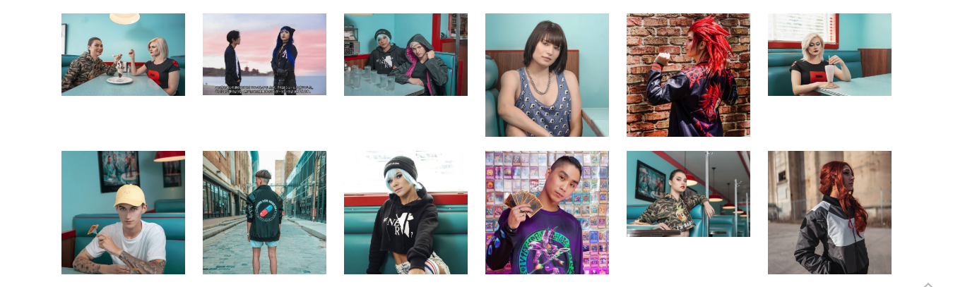 A collage of pictures from Pink City's website. 12 different people modelling the streetwear brand, as seen on Pink City's Instagram page.