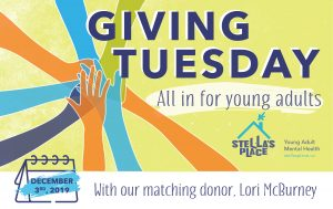 Giving Tuesday campaign graphic featuring illustrated hands reaching in together. With matching gift donor Lori McBurney