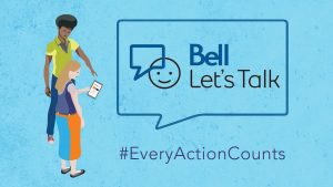 Blue graphic for Bell Let's Talk Day with the Bell logo inside a speechbubble with the words #EveryActionCounts. Illustration of young adults looking at a mobile phone in their hand standing to the left.