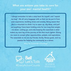 """Blue graphic with white text above """"What are actions you take to care for your own mental health?"""" and a quote"""