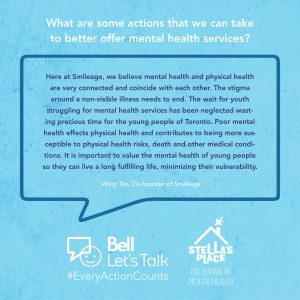 """Blue graphic with white text above """"What are some actions that we can take to better offer mental health services?"""" and a quote"""