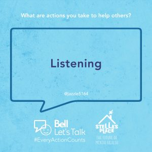 """Blue graphic with white text above """"What are actions you take to help others?"""" and a quote """"Listening"""""""