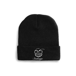 Black beanie with the [s]mileage logo in white on the middle