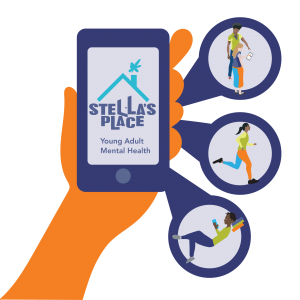 Illustrated orange hand holding a mobile phone with the Stella's Place logo on the screen. Coming out of speech bubbles on the right are illustrations of people doing actions. The top features two people standing looking at a phone, the middle is a person running and the bottom is a person lounging, reading a book.