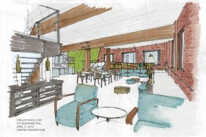 A sketch rendering of the new Stella's Place Café with lots of tables and chairs