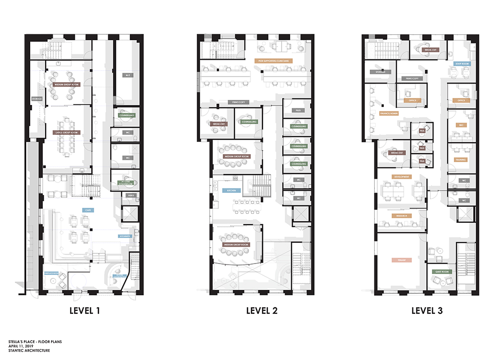 3 line drawings of floor plans, side by side for our new building.