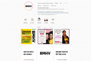 A screenshot and a link to Black Mental Health Visibility's Instagram page, with a few posts and their bio.