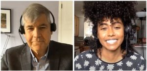 A screenshot of Jennille and Dr. Bjug on talk show. To the left screen is Dr. Bjug with a small smile. He has short grey hair and is wearing a headset in a grey blazer overtop a light grey buttondown. To the right, Jennille has a big smile showing all her teeth. She has long black curly hair and a nose ring. Jennille is wearing a black shirt with white printed flowers.