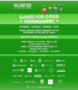 """Green graphic with text """"Games for Good Tournament"""""""