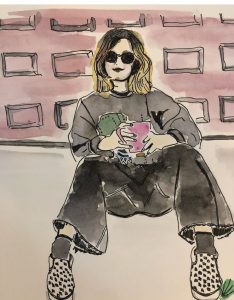 A watercolour painting of a person sitting on the ground, resting against a wall. The person has blonde hair to their shoulders and is holding a pink mug. The person is wearing sunglasses, a dark grey sweater, black jeans and black and white spotted shoes.