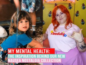 """2 photos of Hayley Elsaesser. The one on the left is Hayley as a child, and the photo on the right is Hayley now, wearing a pink t-shirt that says """"Anxiety"""" from her own clothing line. Overlaid on the photos is text that reads """"My mental health: The inspiration behind our new nausea nostalgia collection"""""""