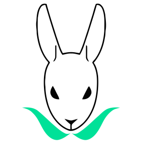 Mopgarden logo, which is a simple outline of a white rabbit with a green collar