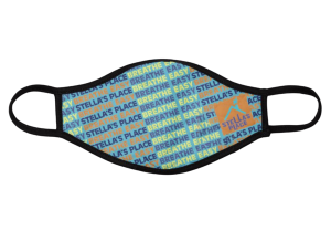 Mockup of Stella's Place mask with word pattern