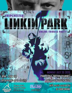 Graphic poster to promote Linkin Park Chester Bennington Tribute Party. Image shows blue graphic of figure with wings and a photo of Chester Bennington above.
