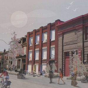 A photo rendering of the future home of Stella's Place from a street view with illustrations of people walking.