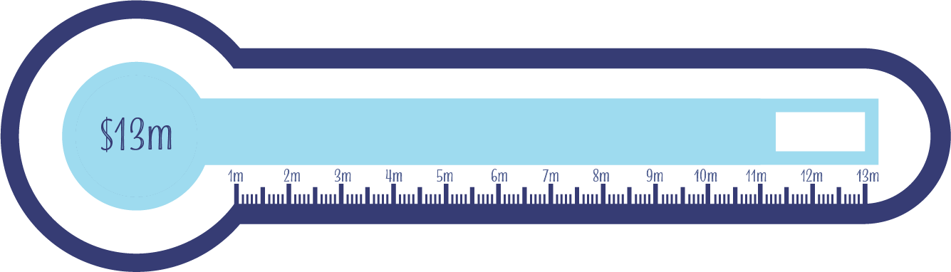 Dark purple and blue thermometer graphic that outlines the remaining funds needed for our new building. The thermometer is set for $13million and filled to $11.3million