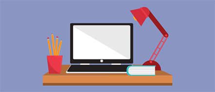 A purple graphic with an illustration of an office desk in the middle. A black and white computer, a red cup full of yellow pencils, a red desk lamp and a white book are sitting on top of a brown desk.
