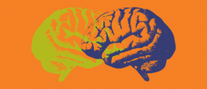 A bright orange graphic with illustrations of two overlapping brains, one lime green and one dark purple.