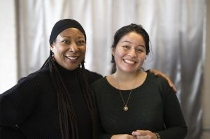 Carol (left) posing for the camera with Young Adult Council Member Victoria (right)