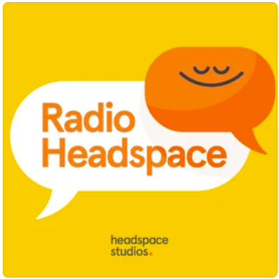 """A yellow graphic with a white speech bubble that reads """"Radio Headspace"""" Overlaying the white speech bubble is an orange cartoon caricature in the shape of another speech bubble. The caricature has its eyes closed and a large grin."""