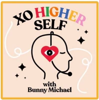 Podcast cover image of an illustration of a head with a headphone on, but the earpiece is a red heart with an eye in the middle