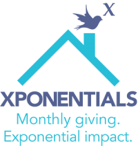 """Icon that reads """"Xponentials"""" in large bold font. Underneath in small blue """"Monthly giving. Exponential impact."""" Above the text is an outline of a blue roof and a purple bird on top of the chimney with an italicized mathematical x above."""