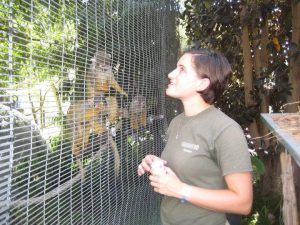 Elisa looking and smiling at a group of monkeys that are clinging to a wire fence that separates them from her.