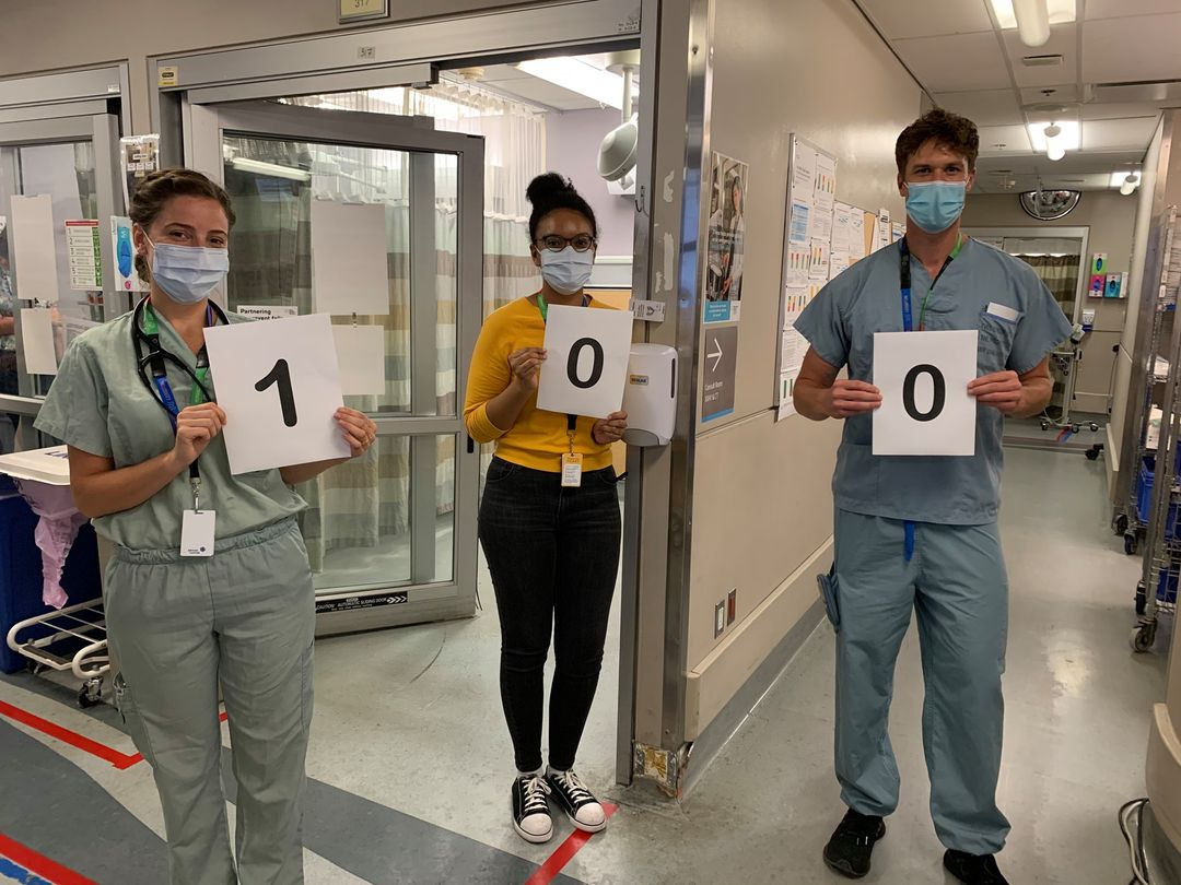 Pictured here is Mahalia, the RBC Pathway To Peer Worker, Dr. Organek and Dr. Prucnal of Mount Sinai Hospital's Emergency Department team who referred the 100th patient.
