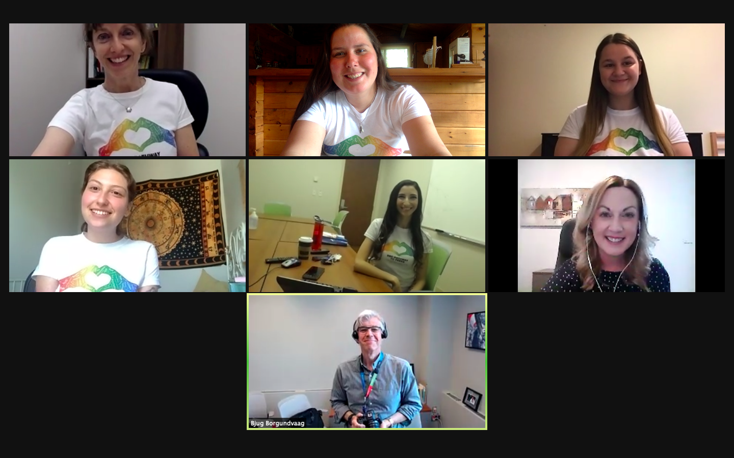 A screenshot of a zoom screen with 7 people celebrating the one year anniversary of the Pathway to Peers Program.