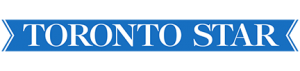 Toronto Star logo with the text in white serif font in all capitals on a blue ribbon banner background.
