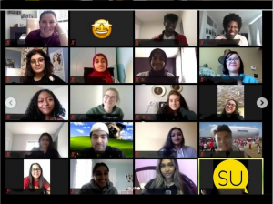 A screenshot from a virtual zoom call with 20 people on the screen. Most have their webcams on showing their faces but a few have theirs turned off with emojis as their profile.